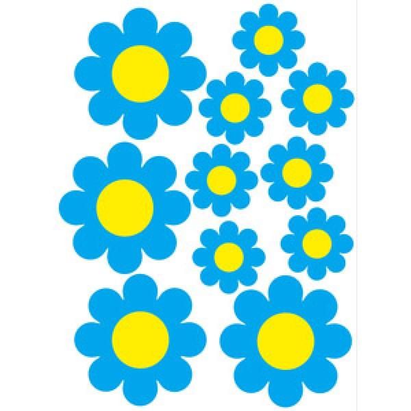 Цветочки , голубой (35х50)