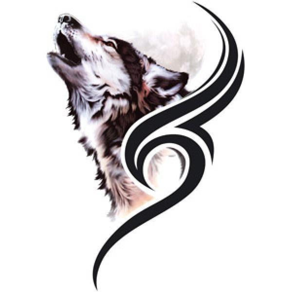 Волк-tatoo (разм. 17,5х12)