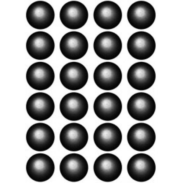 Кружок , 24 шт , Ø 1.2 см , силикон , голография (черный)