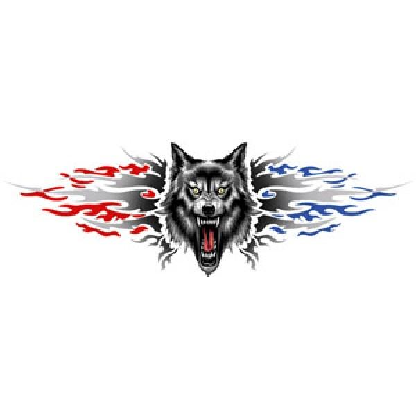 """Волк (Ярость)"""" (33х100 см) серый+красный"""