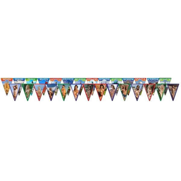 "флажки ""Флаги стран и девушки (14 шт.)"" 7х10 см,ламинированные"