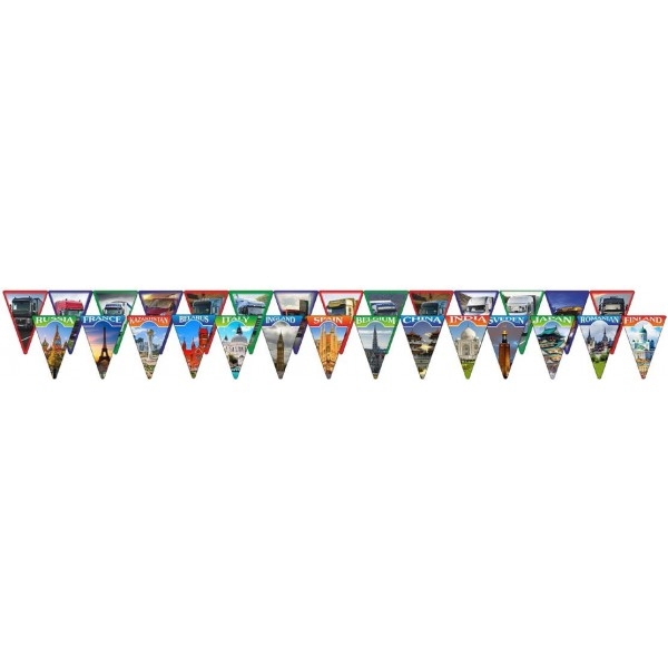"флажки ""Флаги стран и машинки (14 шт.)"" 7 х10 см, ламинированные"