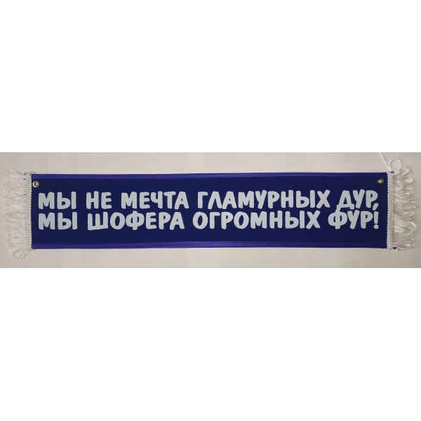 МЫ НЕ МЕЧТА ГЛАМУРНЫХ ДУР , МЫ ШОФЕРА ОГРОМНЫХ ФУР! (10х50 см) синий