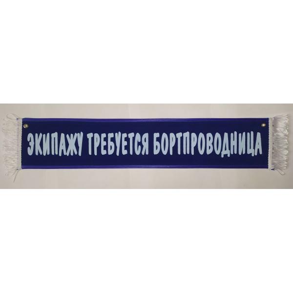 ЭКИПАЖУ ТРЕБУЕТСЯ БОРТПРОВОДНИЦА (10х50 см) синий